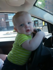 Don't worry, Emmett doesn't normally ride in the front seat. He was only here because he had just finished nursing.