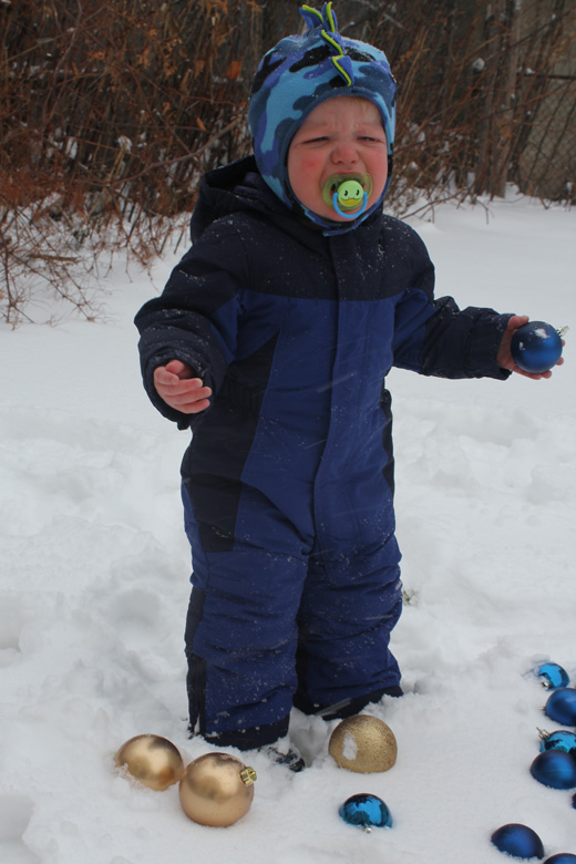 He had been wearing mittens, but insisted I take them off. Oh Emmett!